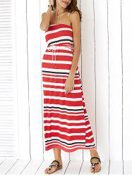 Casual Strapless Drawstring Striped Dress