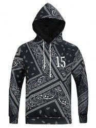 Ethnic Geometric Print Long Sleeve Hoodie For Men