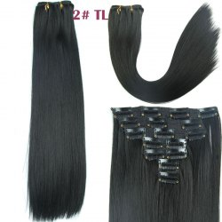 Long Straight Clip-In Synthetic Stylish Hair Extension For Women - BLACK