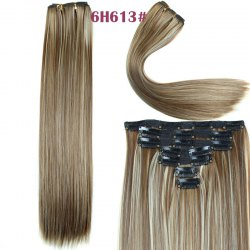 Long Straight Clip-In Synthetic Stylish Hair Extension For Women - BROWN WITH BLONDE