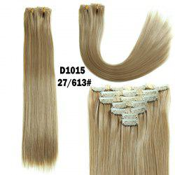 Long Straight Clip-In Synthetic Stylish Hair Extension For Women - GOLDEN BROWN WITH BLONDE