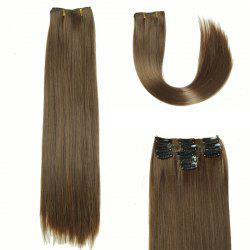 Glossy Long Straight Clip-In Synthetic Hair Extension For Women - DEEP BROWN