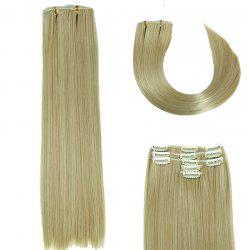 Glossy Long Straight Clip-In Synthetic Hair Extension For Women - GOLDEN