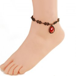 Gothic Style Floral Hollow Faux Ruby Anklet For Women -
