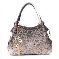 Metallic Floral Pattern Shoulder Bag -