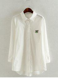 Oversized Koala Embroidered White Shirt - WHITE 4XL