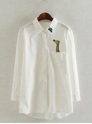 Long Sleeve Casual Oversized Giraffe Embroidered Shirt - WHITE 4XL