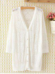 Long Sleeve Oversized Openwork Buttoned Long Cardigan - WHITE