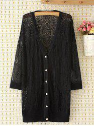 Long Sleeve Oversized Openwork Buttoned Long Cardigan - BLACK