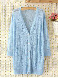 Long Sleeve Oversized Openwork Buttoned Long Cardigan - LIGHT BLUE