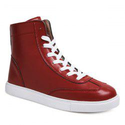 Casual Solid Color and Lace-Up Design Boots For Men - CLARET