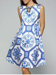 Vintage Slash Neck Sleeveless Printed Dress -