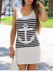 Leisure Scoop Collar Sleeveless Striped Anchor Pattern Women's Dress