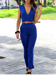 Fashion V-Neck Sleeveless Solid Color Jumpsuit For Women -