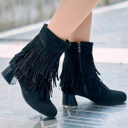 Fashionable Layer Fringe and Chunky Heel Design Boots For Women