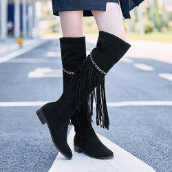 Trendy Fringe and Chains Design Thigh High Boots For Women
