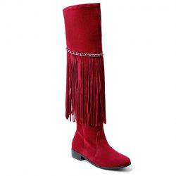 Trendy Fringe and Chains Design Thigh High Boots For Women - WINE RED