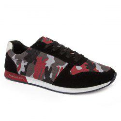 Fashion Splicing and Camouflage Pattern Design Athletic Shoes For Men - RED WITH BLACK