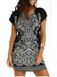 Ethnic Summer Mini Dress With Sleeves - BLACK
