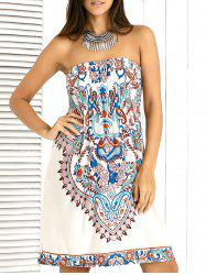 Stylish Shirred Paisley Ornate Printed Tube Dress For Women