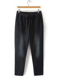 Oversized Bleach Wash Drawstring Denim Pants - BLACK
