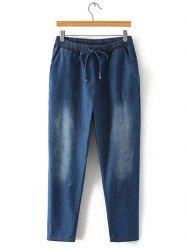 Oversized Bleach Wash Drawstring Denim Pants