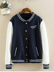Letter Graphic Plus Size Baseball Jacket