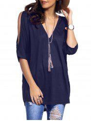 Cold Shoulder Asymmetrical Low Cut V Neck Tee