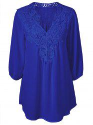 Plus Size Sweet Crochet Spliced Tunic Blouse - SAPPHIRE BLUE