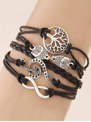 Music Notation Life Tree Owl Braided Bracelet -