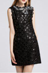 Sequined Crochet Mini Dress