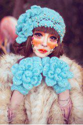 Faux Pearl Beaded Crochet Hat - ICE BLUE