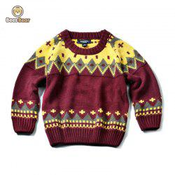 Geometric Pattern Jacquard Knit Pullover Sweater -