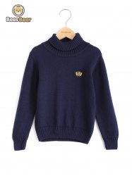 Boys Turtleneck Solid Color Pullover Sweater -