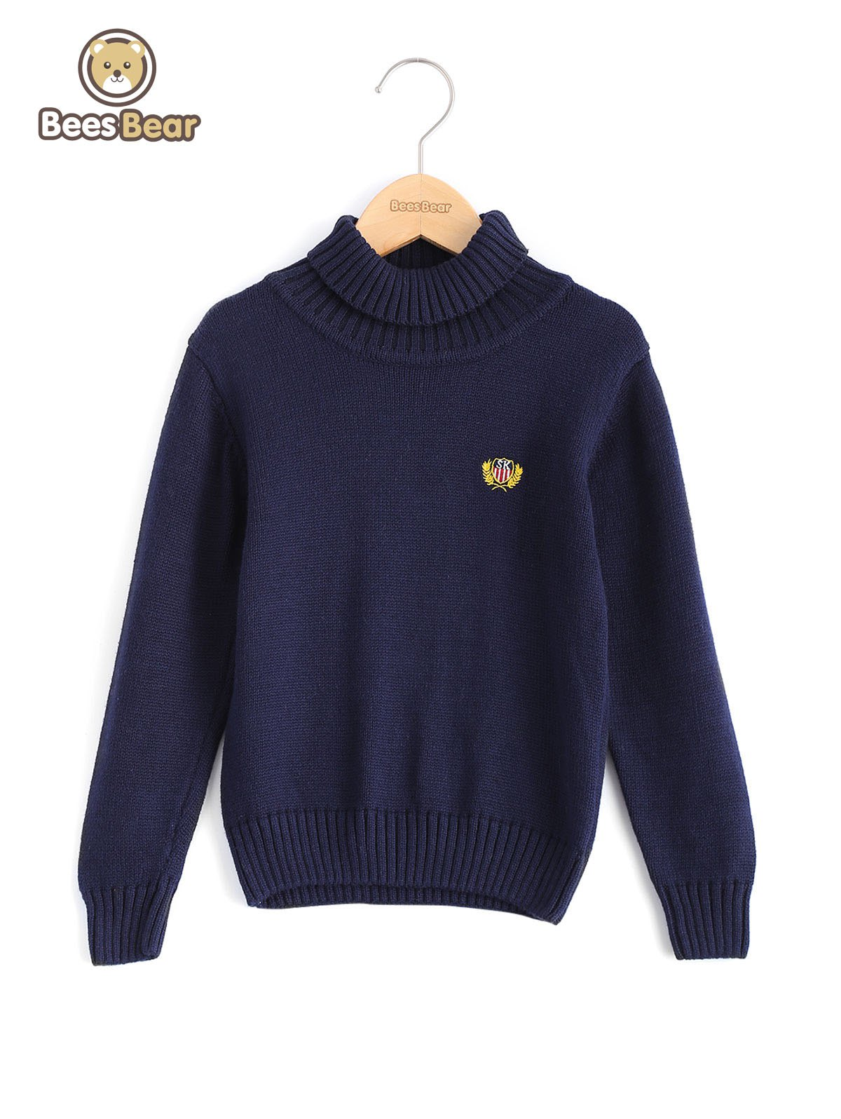 Buy Boys Turtleneck Solid Color Pullover Sweater