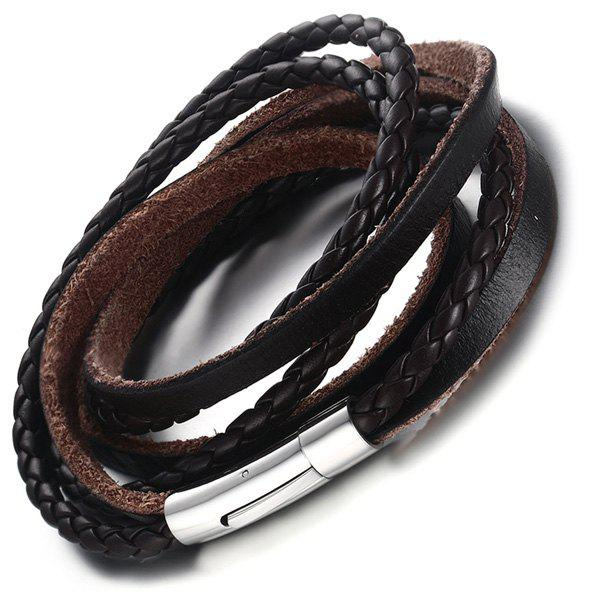 Outfit Faux Leather Braid Layered Bracelet