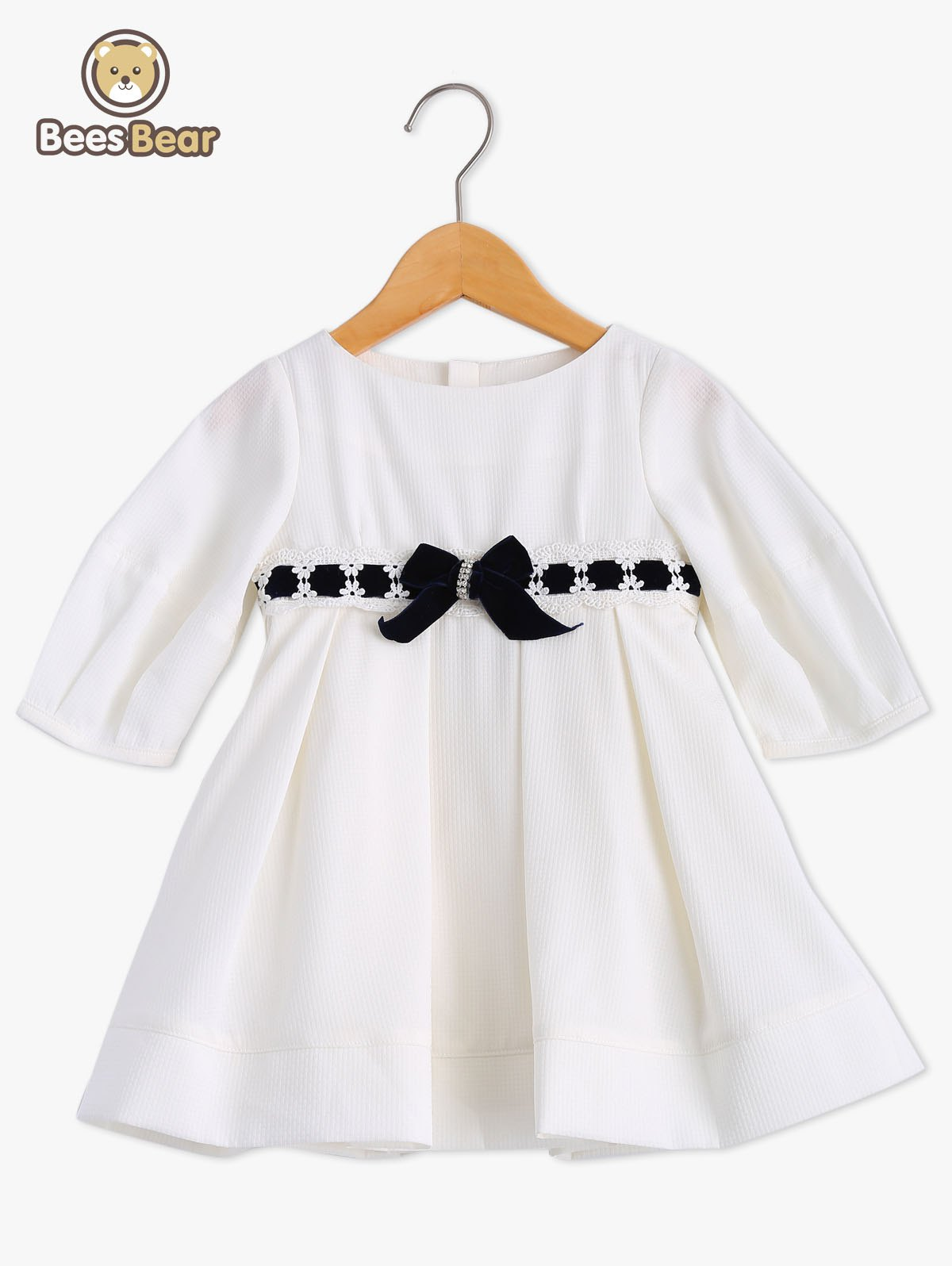 Outfits Bowknot Embellish Lace Splice White Dress