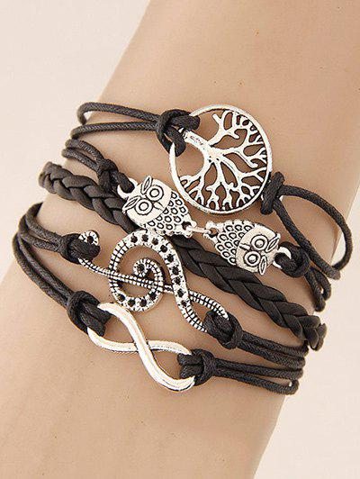Best Music Notation Life Tree Owl Braided Bracelet