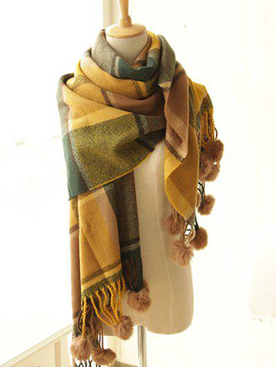 Online Stylish Plaid Pattern Pompon Pendant Shawl Wrap Pashmina