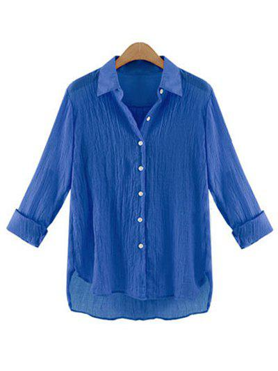 Gauzy Pure Color High Low Shirt pour les femmes