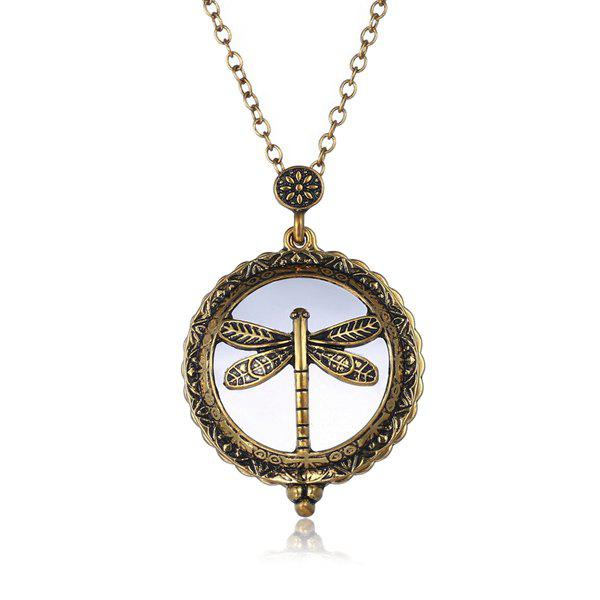 Store Retro Copper Plated Carved Dragonfly Magnifying Galss Sweater Chain For Women