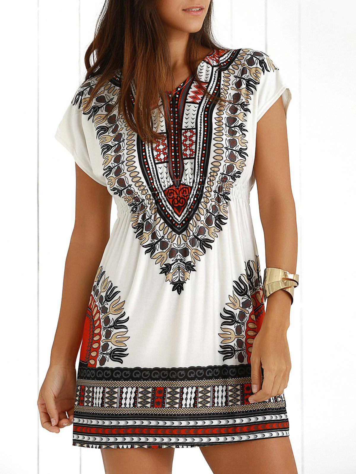Casual Ethnic Summer Mini DressWOMEN<br><br>Size: ONE SIZE; Color: JACINTH; Style: Casual; Material: Polyester; Silhouette: A-Line; Dresses Length: Mini; Neckline: V-Neck; Sleeve Length: Short Sleeves; Pattern Type: Print; With Belt: No; Season: Summer; Weight: 0.1950kg; Package Contents: 1 x Dress;