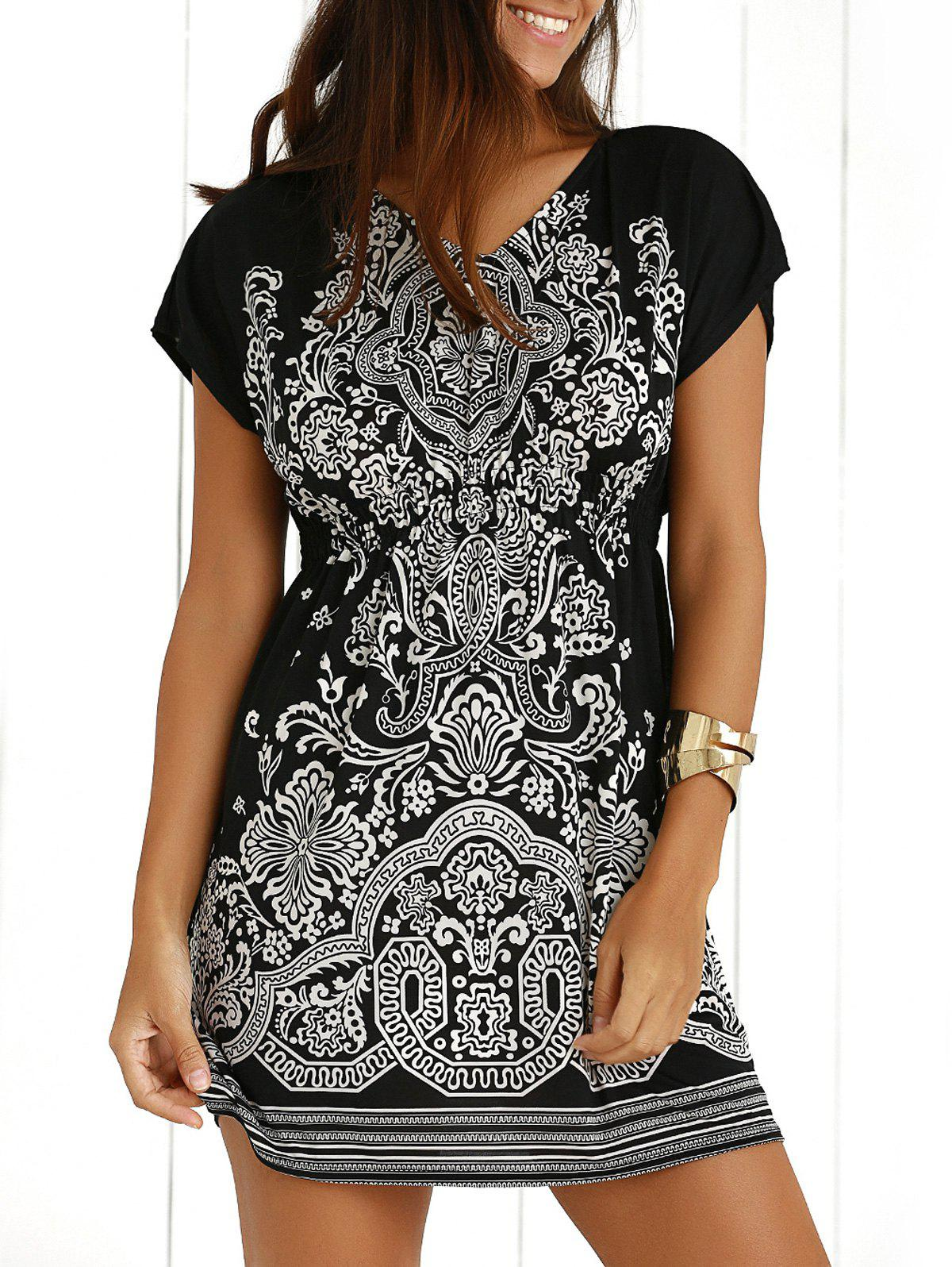 Casual Ethnic Summer Mini DressWOMEN<br><br>Size: ONE SIZE; Color: BLACK; Style: Casual; Material: Polyester; Silhouette: A-Line; Dresses Length: Mini; Neckline: V-Neck; Sleeve Length: Short Sleeves; Pattern Type: Print; With Belt: No; Season: Summer; Weight: 0.1950kg; Package Contents: 1 x Dress;