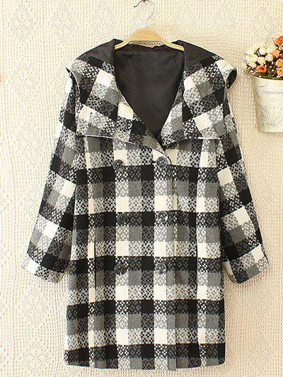 Hot Plus Size Plaid Double Hooded Breasted Coat