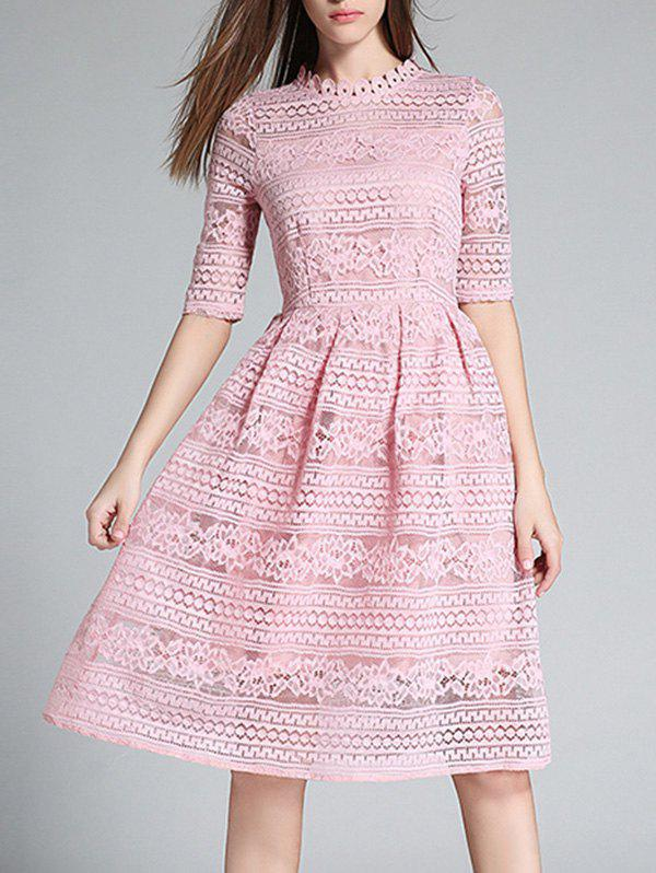 Hot Crochet Lace Hollow Out Knee Length Dress
