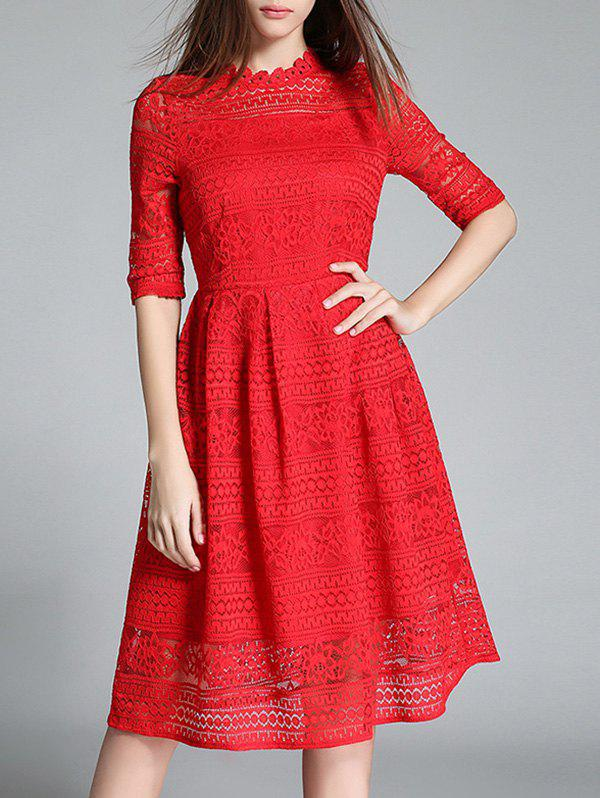 Crochet Lace Hollow Out Longueur au genou Robe