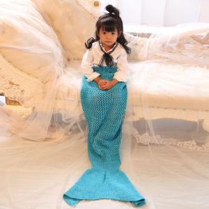 Bowknot Lace-Up Photography or Sofa Knitted Mermaid Blanket For Kids - Blue - M