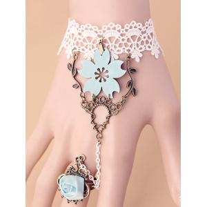 Filigree Branch Rose Lace Bracelet with Ring - Colormix - One Size