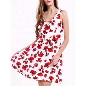 Stunning V-Neck Backless Floral Dress For Women