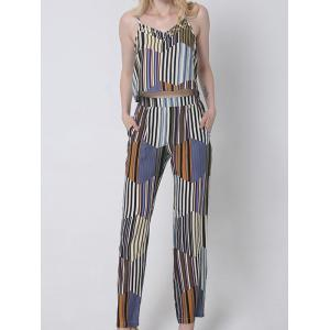 Casual Hit Color Tank Top and Striped Pants Set For Women